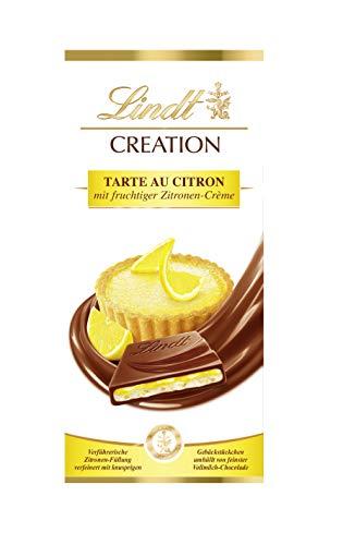 Lindt Creation Tarte au Citron Tafel, fruchtige Zitronen-Crème mit knusprigen Gebäckstückchen umhüllt von feiner Vollmilch-Schokolade, 1er Pack (1 x 150 g)