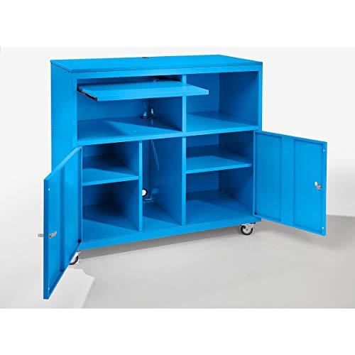 QUIPO PC-Pult, fahrbar - HxBxT 1184 x 1180 x 590 mm - lichtblau RAL 5012 - Computerschränke computer cabinets