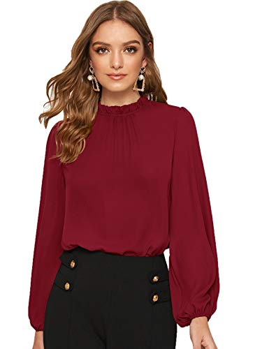 DIDK damska bluzka, kołnierz stójka, bluzka szyfonowa, górna część z latarniami, elegancka koszulka z długim rękawem, jednokolorowa top, sweter