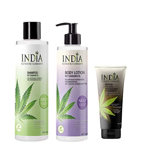 Hair & Body-Set von India Cosmetics Germany, mit Bio Cannabis Öl in veganer Premiumqualität. 1x Shampoo & 1x Bodylotion ohne Parabene, weiche Haut und perfekte Haarpflege,...