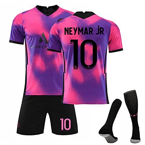 Camiseta De Fútbol De Visitante del Paris 2021, N. ° 7 Mbappé N. ° 10 Neymar Traje De Camiseta De Fútbol Rosa Y Morado, Entrenamiento Deportivo para Adultos Y Niños,10,22