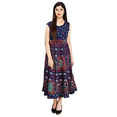 VAASTRA Women's Cotton Dress (Blue_Free Size)