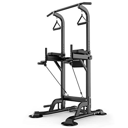 HSJSY Multifunktionale Fitnessstation - Vielseitiger Kraftturm, Fitnessturm, Multifunktionales Rack, perfekt für´s Home-Gym,Schwarz