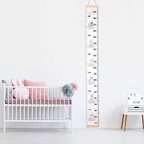 Tukistore Baby Messlatte Höhe Diagramm Tragbare aufrollbar Segeltuch und Holz Messlatte Höhe Diagramm Abnehmbare Höhe und Wachstum Diagramm für Kinderziemmer Dekoration