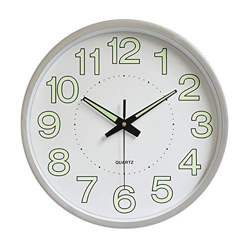 Luminoso Silenciosos Reloj de Pared, Movimiento de Cuarzo, Grande de 12inch y Las Fuentes Grandes Son más fáciles de Leer.para Decoración de Dormitorio, Sala de Estudio, Oficina(Plata)