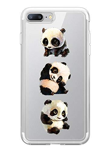 Suhctup Coque Comaptible pour iPhone 6/6S,Transparent Silicone TPU Bumper Motif Animal Crystal Ultra Mince Etui Cover Antichocs Résistance Aux Rayures Protection Housse Case,Pandas 1