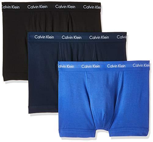Calvin Klein 3p Low Rise Trunk Bóxer, Azul (Black/Blue Shadow/Cobalt Water Dtm...