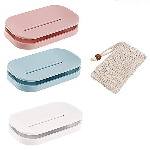 Queta 3 Stück Seifenschale zum Duschseifendose, Seifehalter mit Abfluss für Badezimmerzähler 3 farbige Seifenschale mit weichen natürlichen und hochwertigen Seifensäckchen.(Weiß Blau und Pink)