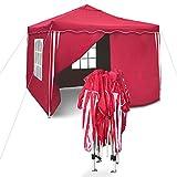 JOM Tente Sylt II de réception pliante 3 x 3 m, Rouge/Blanc, Les parois latérales équipées de 2...