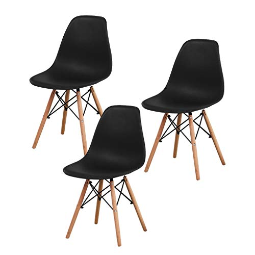 SLY Dineren Chair Retro Kitchen Chair For Living Room Desk Patio Terras Bureau Keuken Lounging Cafetaria Rugleuning Chair (Color : Black, Size : 3 put)