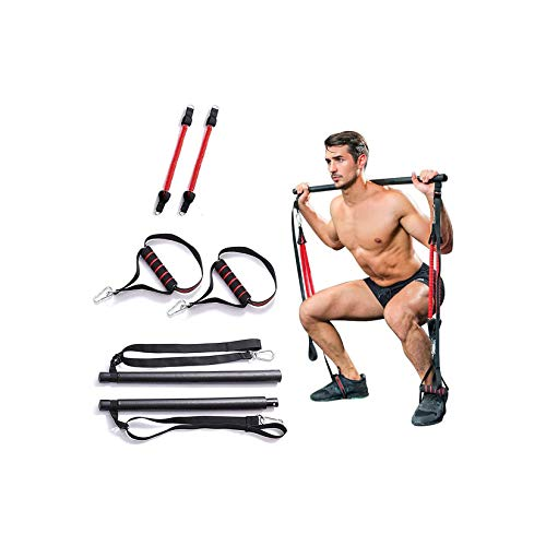 WZPG Elastisches Seil Fitness Pilates Barbell, Einstellbare Länge Multifunktionale Fitnessbar Widerstandsband, Herren Fitness Übung Home Trainingsgeräte