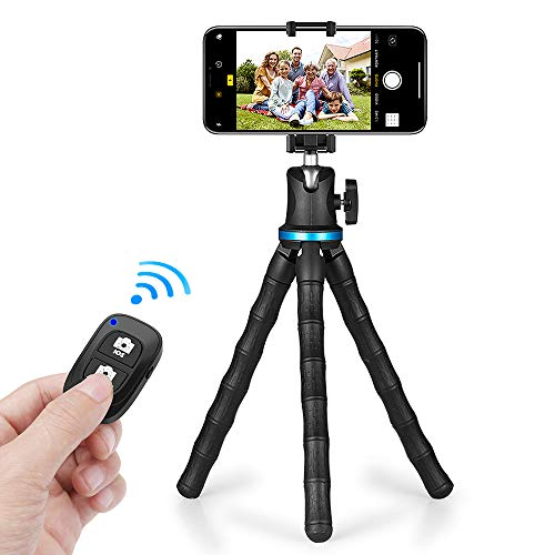 UBeesize 12'' Flexible Cell Phone Tripod Stand Holder with Wireless Remote Shutter & Universal Phone Mount, Compatible with Smartphone/DSLR/GoPro Cameras