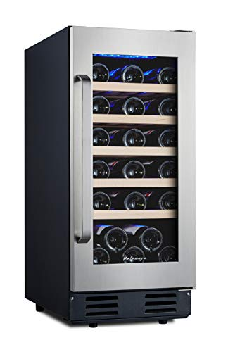 Kalamera 15 Inch Wine Refrigerator Cooler 30 Bottle Built-in or Freestanding with Stainless Steel & Double-Layer Tempered Glass Door and Temperature...