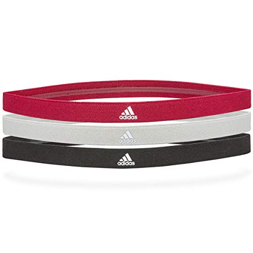 Adidas Sports Hair Bands - Black, Grey, Power Berry (3 Pack)