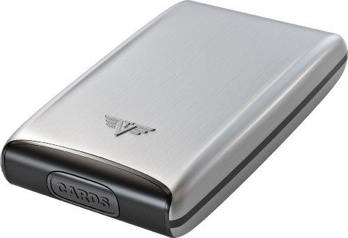 Tru Virtu Wallet Fan Credit Card - Carcasa para Hombre de Aluminio con Tarjetero, Plateado,