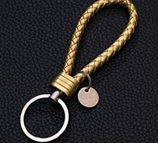 YBAA 33 Colors PU Leather Braided Woven Rope BTS Keychain DIY Bag Pendant Key Chain Holder Car Keyrings Men Women Keychain (Color : Gold)