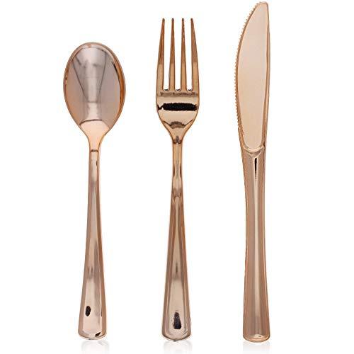 Blue Panda Cubiertos de plástico: Incluye cucharas, Tenedores y Cuchillos de plástico (24 de Cada uno) Paquete de 72 Oro Rosa