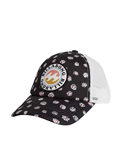 Billabong Girls' Classic Shenanigans Mesh Back Adjustable Trucker Hat, Black Floral, One
