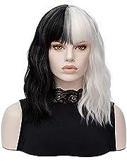 FVCENT Krótka czarna i biała peruka w kształcie fali, półczarna i półbiała, odporna na wysokie temperatury peruka damska