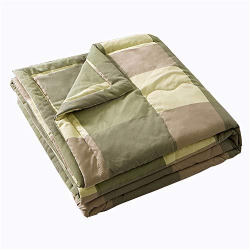 Colcha acolchada reversible, colcha de decoración de celosía, ultra suave acolchado (rejilla grande, 200 x 230 cm)
