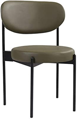 Round Dining Chair, Leather Metal with Sponge Back Seat, Home Makeup Reception Stool, Suitable for Living Room, Kitchen, Shopping Mall, Negotiation Table and Chair (Color : Green)