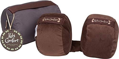 Kuhi Comfort Original Travel Pillow 2 Luxurious Cushions That Cradle Your Head on The Sides Comes in Convenient Carry Case (Brown)