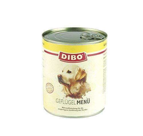 DIBO – MENÜ GEFLÜGEL, 800g-Dose mit Naturreis, Karotten und Lachsöl, DIBO-Qualität