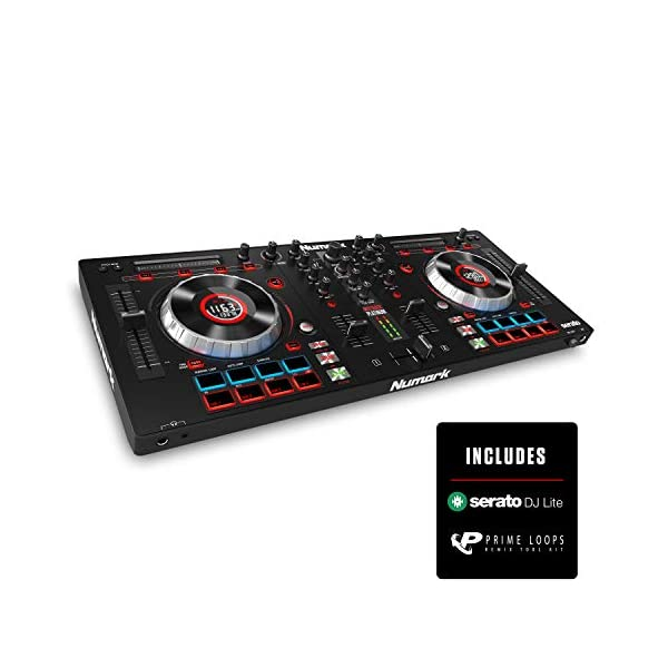 Numark Mixtrack Platinum + SoundSwitch DMX Micro Interface | 4-Deck DJ Controller + Compact USB to DMX Interface and Serato DJ Lite Included