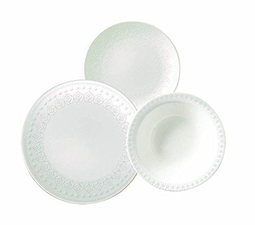 Corona HarmonyMulaki Vajilla, Porcelana, Blanco, 23x29x30 cm, 18 Unidades