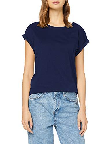 Urban Classics Ladies Extended Shoulder Tee - Maglietta a Maniche Corte Donna, Blu (Dark Blue), XS