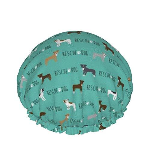 Pitbull Rescue Dog Teal Gorro de ducha de doble capa Gorro de baño elástico impermeable para mujeres Ducha Spa Salon