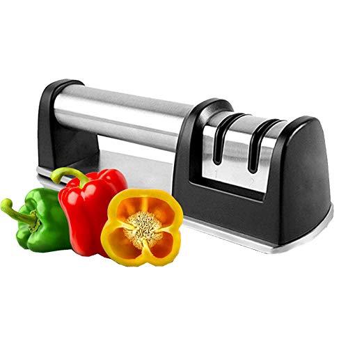 R&P Afilador de Cuchillos de Cocina, Herramienta Manual de Afilado, Acero Inoxidable, con Base Antideslizante