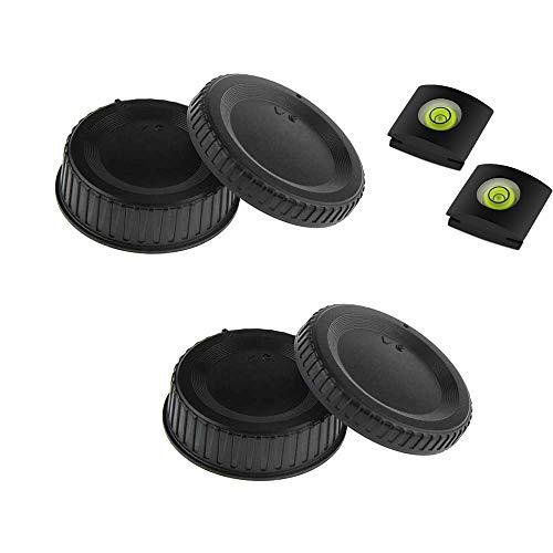 KOMET Cubierta trasera para lente y tapa para cuerpo de cámara (2 + 2 unidades) y cubierta para zapata para Nikon D850 D810 D780 D750 D610 D7500 D3500 D7000 D90 con lente AF AF-S AF-P
