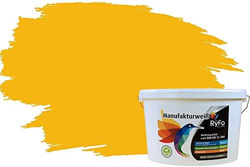 RyFo Colors Bunte Wandfarbe Manufakturweiß Sonnengelb 10l - weitere Gelb Farbtöne und Größen erhältlich, Deckkraft Klasse 1, Nassabrieb Klasse 1