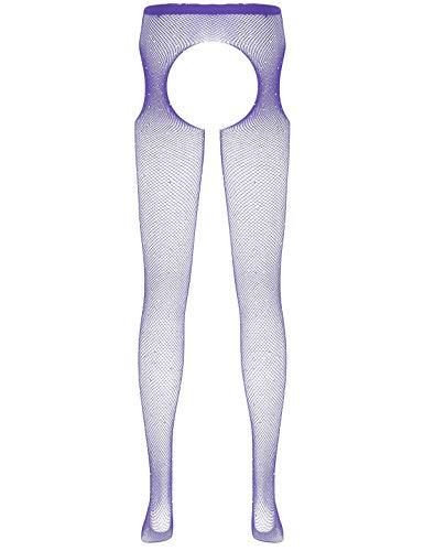 JEATHA Stockings & Hosiery - verführerische Strumpfhose mit offenem Schritt erotische Ouvert-Strumpfhose für sie - 7 Farben Violett One Size