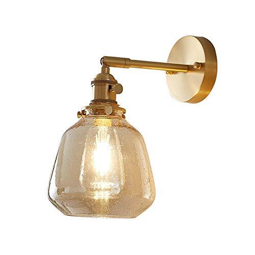 Siet Lámpara de pared de estilo nórdico con interruptores rotativos, luz de montaje en pared de acabado de cobre, E27 Indoor Gordable ángulo de iluminación de paredes de pared para sala de estar dormi