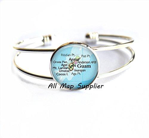 AllMapsupplier Pulsera con encanto, pulseras de mapa de Guam, pulsera de mapa de Guam pulsera Guam pulseras joyería Andersen Air Force Base Pulsera,,AO124