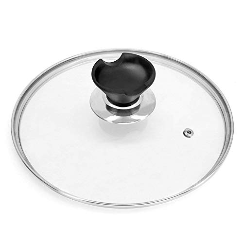 9 inch Tempered Glass Lid Accessory for Instant Pot 5 and 6 Quart Pressure Cooker, Universal Pan Pot Clear Cookware Lid/Cover with Spoon Rest/Holder Knob Handle Design, with Steam Vent Hole