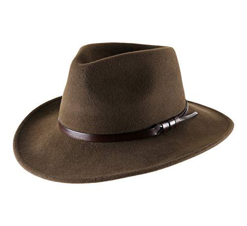 Classic Italy - Chapeau Fedora Pliable imperméable Large Bord - 11 Coloris - Homme ou Femme Classique Large - Taille 57 cm - Marron