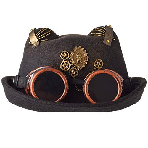 Head circumference is 58cm/22.8'' (one size fit most) Goggles, gears, fingers, rivets deco, goggle is removable and can be separated, wear, adjustable Gothic teampunk, Victorian costume, Cyber punk, Industrial Age, Plague doctor costume Great for Ren...
