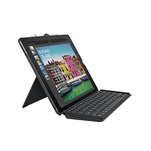 Logitech Slim Combo iPad Case with Detachable Keyboard, For iPad Pro 12.9 Inch (1st and 2nd Gen Models: A1584, A1652, A1670, A1671, A1821), Backlit Keys, Smart Connector, QWERTY UK Layout - Black