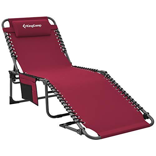 KingCamp Single Campingliege Sonnenliege Gartenliege Camping-Klappbett mit verstellbarem Rückenteil und Kopfkissen für Garten Urlaub Outdoor Weinrot