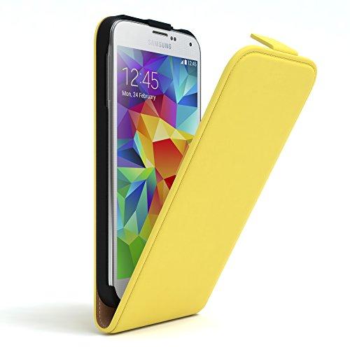 EAZY CASE Hülle kompatibel mit Samsung Galaxy S5/LTE+/Duos/Neo Hülle Flip Cover zum Aufklappen, Handyhülle aufklappbar, Schutzhülle, Flipcase, Flipstyle Hülle vertikal klappbar, Kunstleder, Gelb