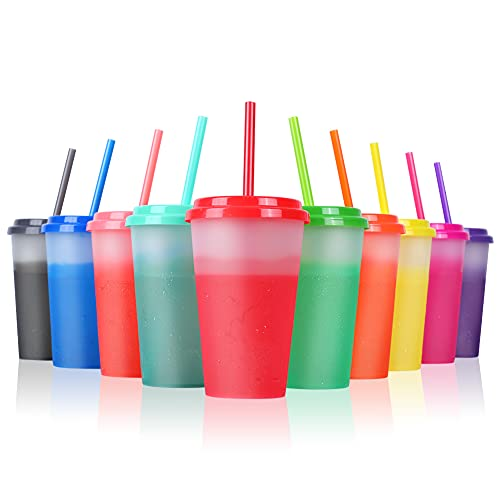Color Changing Cups with Straws & Lids: 12oz Kids Cold Water Drinking Cups 10 Pcs Reusable Plastic Tumbler Bulk