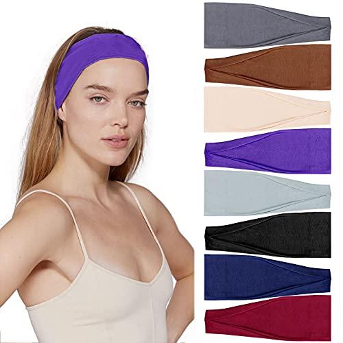 Teruntrue 8 pezzi Fasce per capelli Donna Elastico Allenamento Stretch Sport Fascia Yoga Fascia larga Fasce per capelli Accessori per capelli