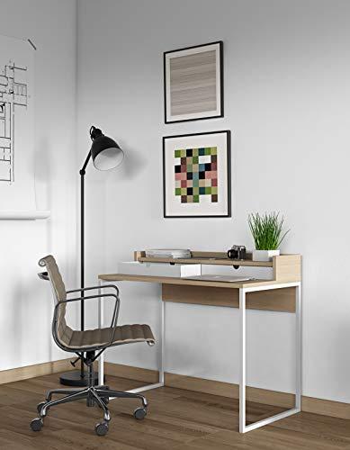 TemaHome Rise Schreibtisch, Eichefurnier hell, Weisse Schubladen und Gestell, L100xB55xH85 cm