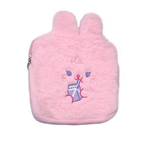 yqs Monedero de mujer de moda mini monedero de felpa mullido cremallera embrague femenino lindo animal niñas niños cartera clásico rosa