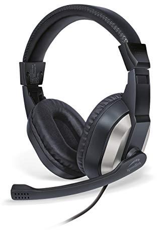 SPEEDLINK THEBE Stereo Headset – mit verstellbarem Kopfbügel, einklappbares Mikrofon, schwarz, 170 × 190 × 70mm (b × h × t), SL-870020-BK