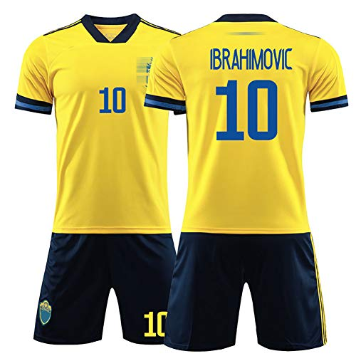 Fußball T-Shirt Shorts Kits Fußball Uniform Kinder, Herren Fußball Trikots, 2020 Europapokal Schweden, Ibrahimović 10#, 100% Polyester-16
