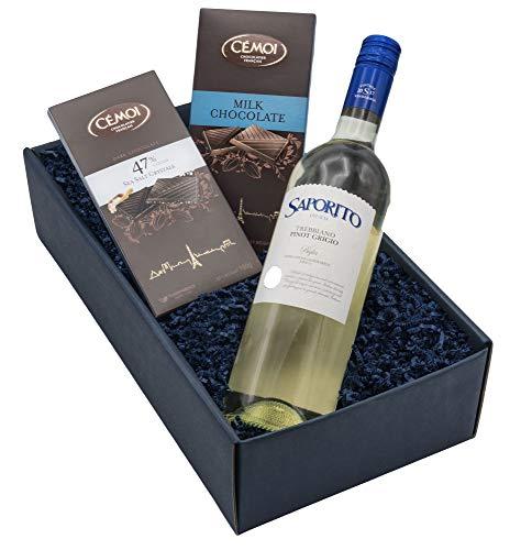 """Geschenkset """"Himmlische Verführung"""" - Italienischer Weißwein & Französische Schokoladen in Präsentverpackung"""
